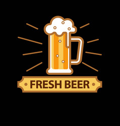 Fresh beer promo logotype with full glass mug vector