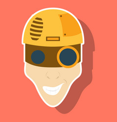 Friendly robot character with sticker cartoon vector