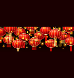 garlands on chinese lanterns or china paper lamps vector image
