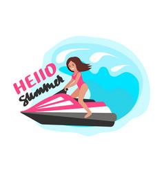 girl on water bike vector image