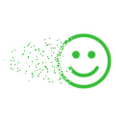 Glad smiley fractured pixel icon vector