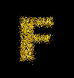 Gold dust font type letter f vector