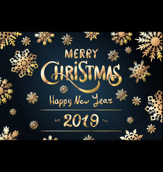 gold merry christmas greetings and happy new year vector image