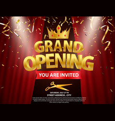 Grand opening card design with gold ribbon vector