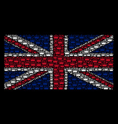 Great britain flag mosaic of crown items vector