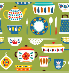 Green seamless pattern with vintage kitchen vector