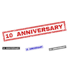 grunge 10 anniversary textured rectangle stamps vector image