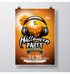 Halloween Party Flyer Design with pumpkin vector
