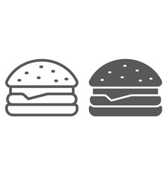 hamburger line and glyph icon food and bakery vector image