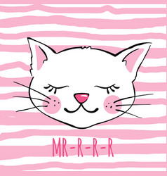 hand drawn cute cat isolated on white vector image