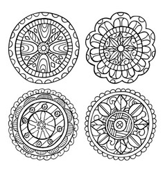 Hand-drawn mandala set of isolated elements vector