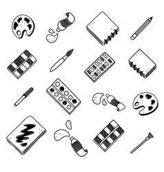 Hand drawn set creatives visual art themes vector