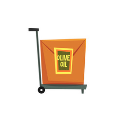 Hand truck with cardboard box with label olive oil vector
