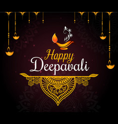 happy diwali festival card vector image