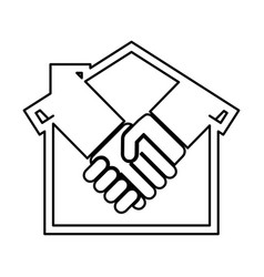 House silhouette with handshake isolated icon vector
