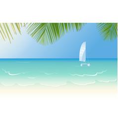 Idyllic beach lapped waves vector