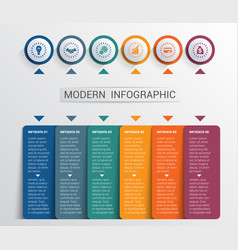 Infographics design template color buttons and 6 vector