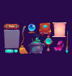 interface for magic game cartoon design elements vector image