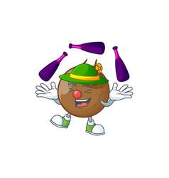 juggling medlar fruits cartoon character for vector image