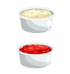 Ketchup and mayonnaise in bowls vector