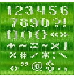 Knitted alphabet white bold sans serif vector image