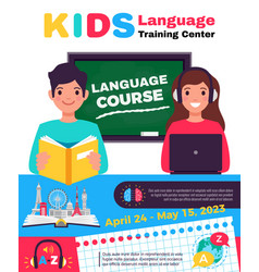 language training center advertisement vector image