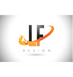 lf l f letter logo with fire flames design and vector image