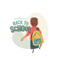 little boy with backpack go to school for the vector image