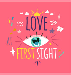 love at first sight greeting card layout vector image