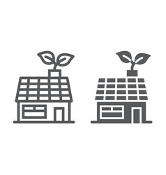 Low energy house line and glyph icon ecology vector
