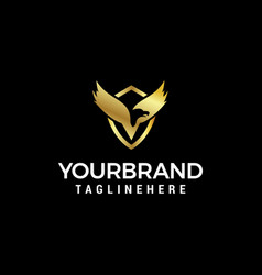 Luxury bird wing logo design concept template vector