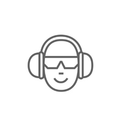 Man in headphones line icon vector image vector image