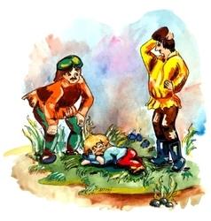 Men and hobbit vector image