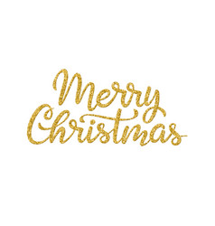 merry christmas greeting hand drawn lettering vector image