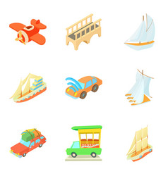Mode of transport icons set cartoon style vector