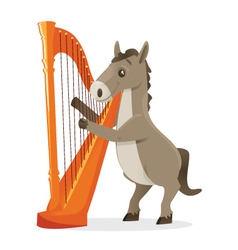 Musical animals horse harp vector