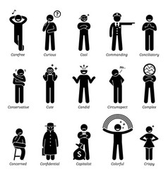 Neutral personalities character traits stick vector