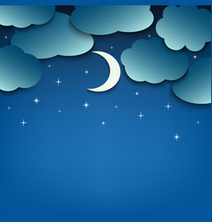 Night sky with clouds and moon template vector