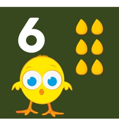 Number 6 - Chick with six grains of corn vector