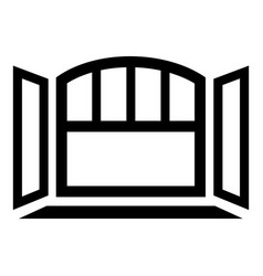 Open semicircular window frame icon simple black vector