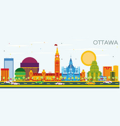 Ottawa skyline with color buildings and blue sky vector