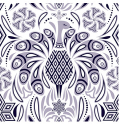 Pattern with peacock and abstract flowers vector