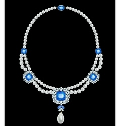 pearl necklace with sapphires vector image