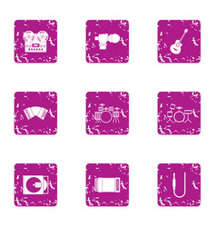 Philharmonic icons set grunge style vector