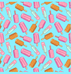 Popsicle seamless pattern - hand drawn ice cream vector