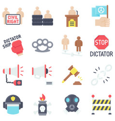 Protest related icon set 2 flat style vector