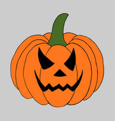 pumpkin with scary face vector image