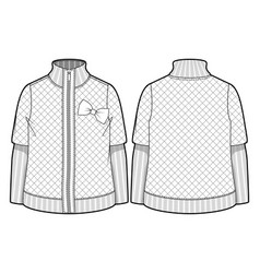 Quilted jacket with zipper closure vector