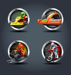 Race car and motorbike set steely rounded badge vector