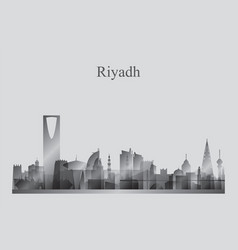 riyadh city skyline silhouette in grayscale vector image